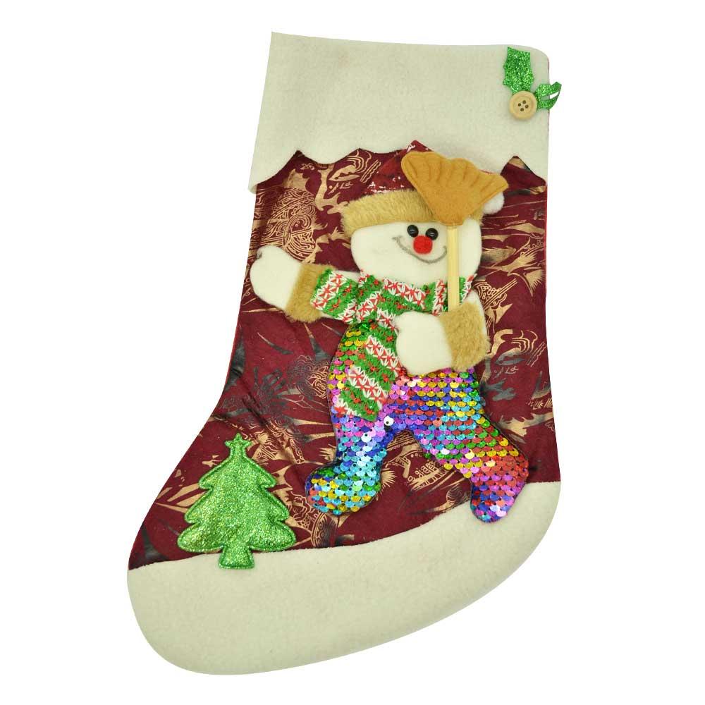 1 pza bota navideña personajes cuerpo con lentejuela grande