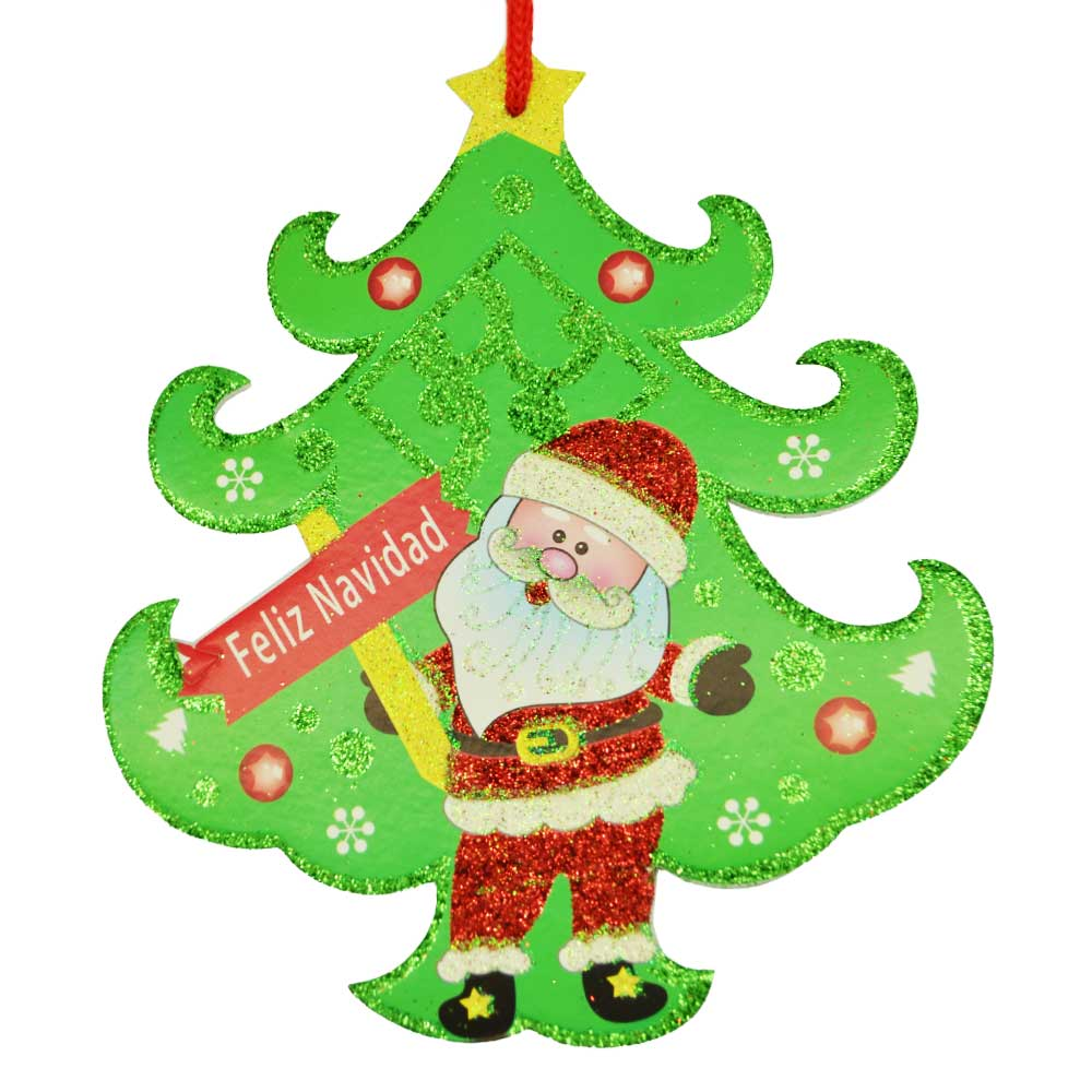 Paquete adorno colgante navideño chico, hielo seco, bota, muñeco nieve, santa, campanas