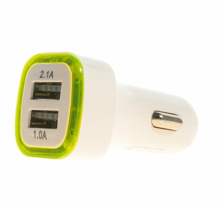 Cargador plug-in con luz led y con dos entradas usb