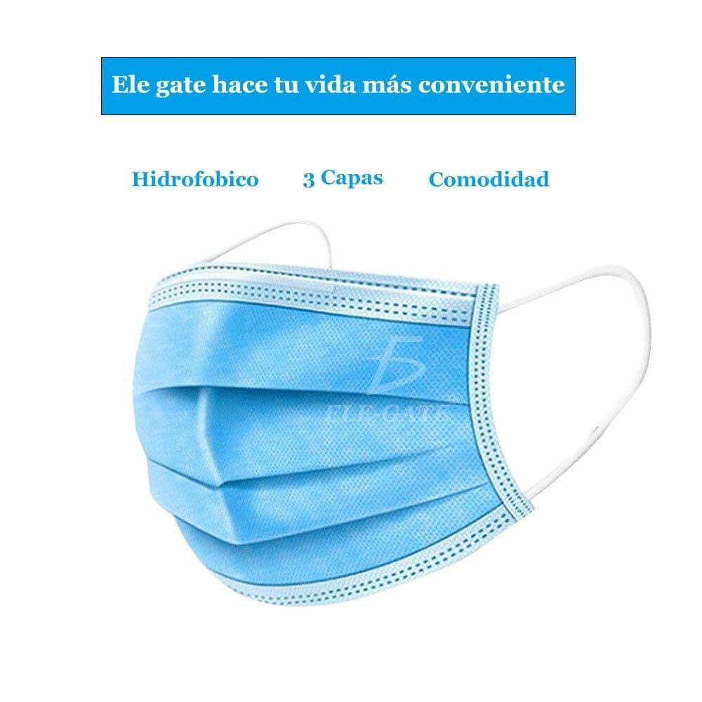 Caja con 50 cubrebocas azul 3 capas