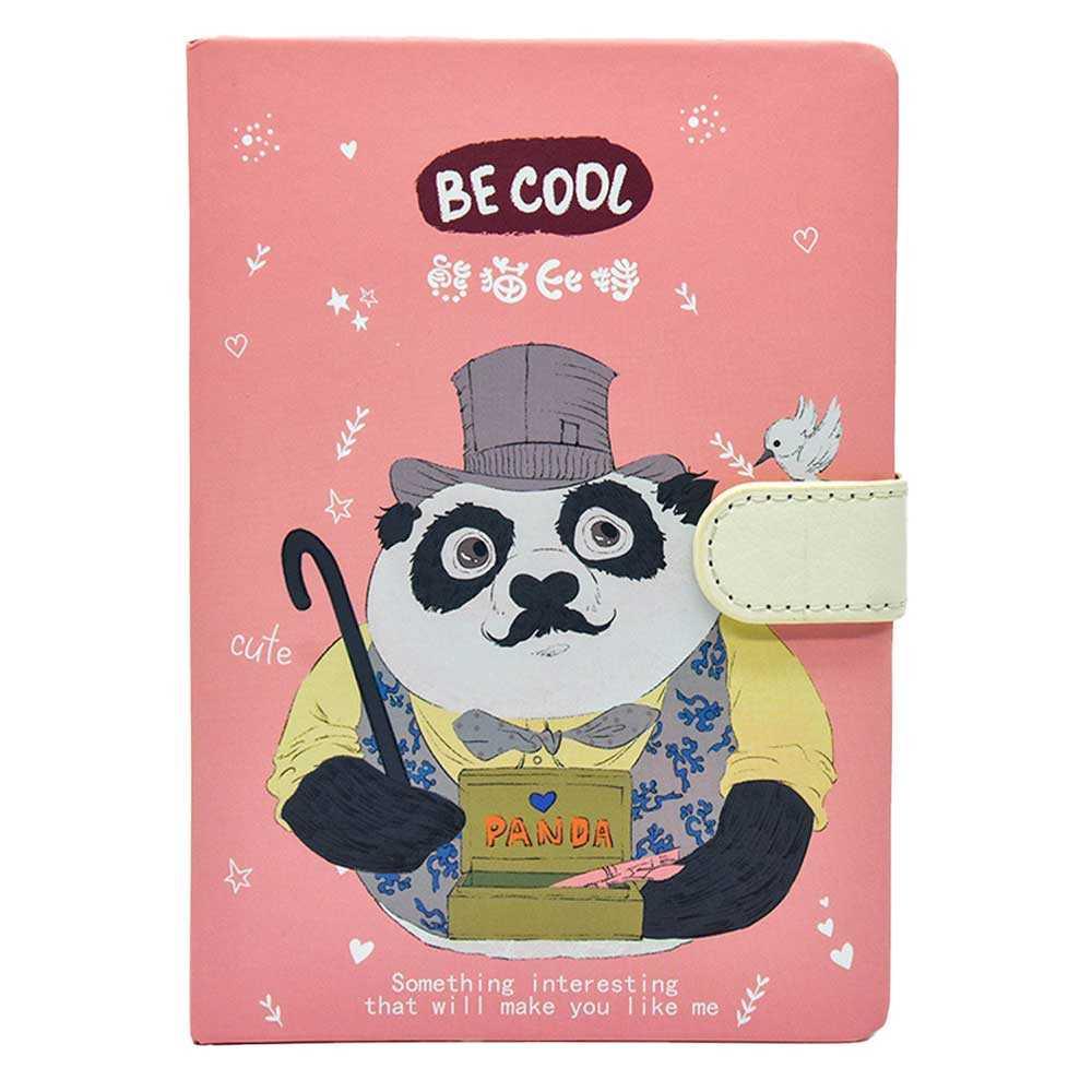 Libreta pasta dura con broche y estampado de panda dk04-a5