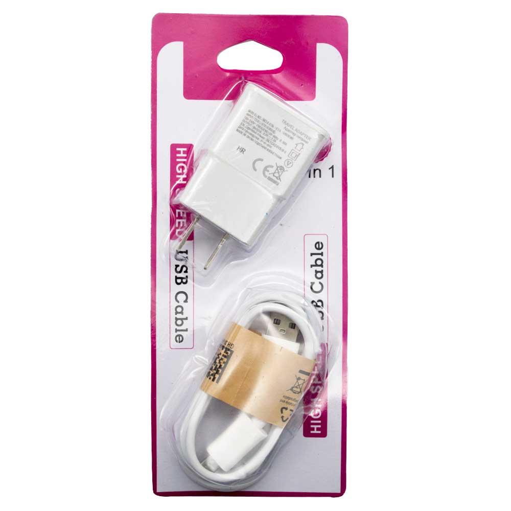 Cargador v8 2 en 1 cubo/cable v8 eta-u90ewe-1 etau90-1
