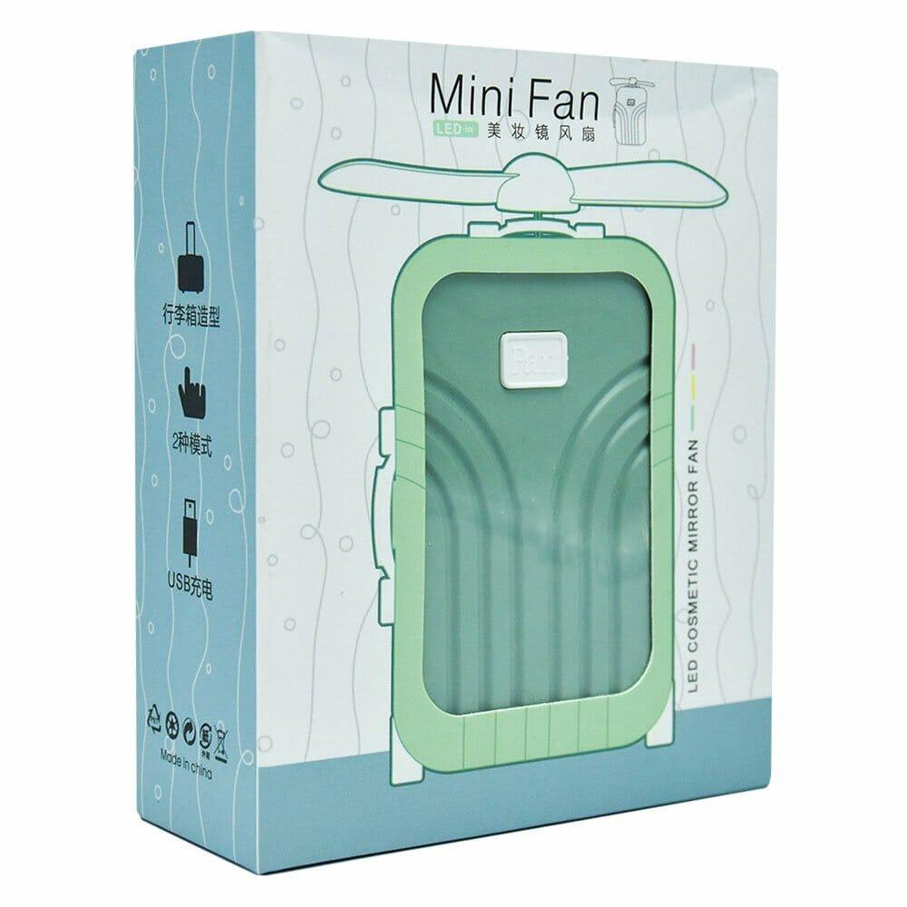 Aro de luz con espejo y ventilador en forma de maleta evn-029