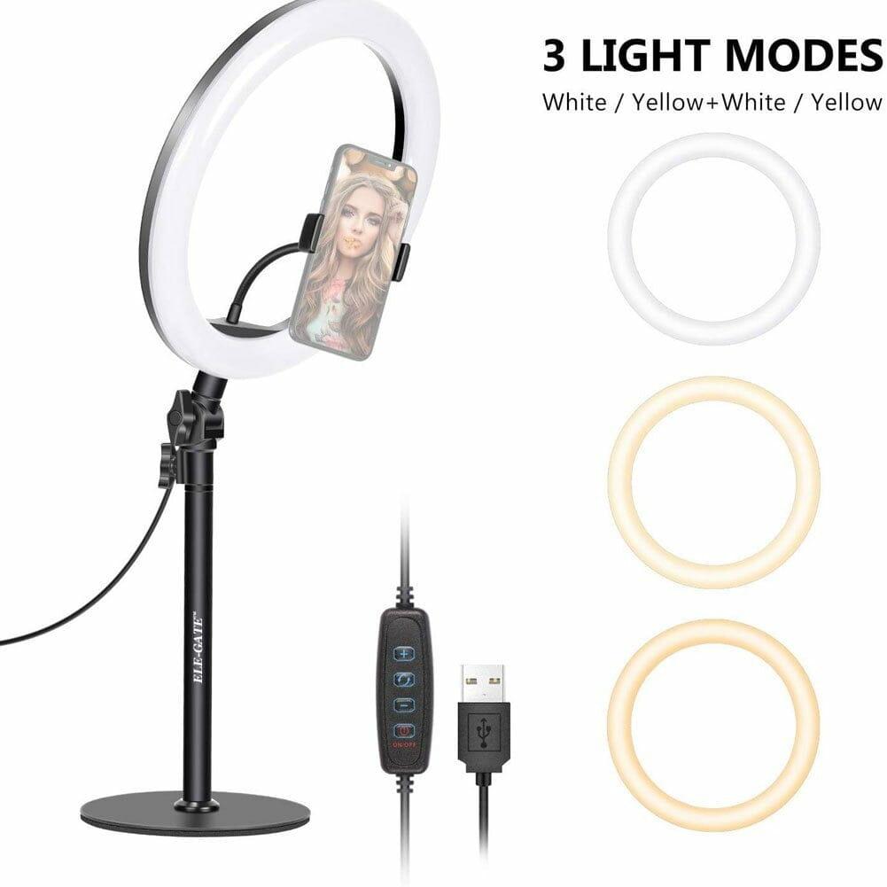 Aro luz anillo led tapa mesa usb 8.2 pulgadas para smartphone hold4026