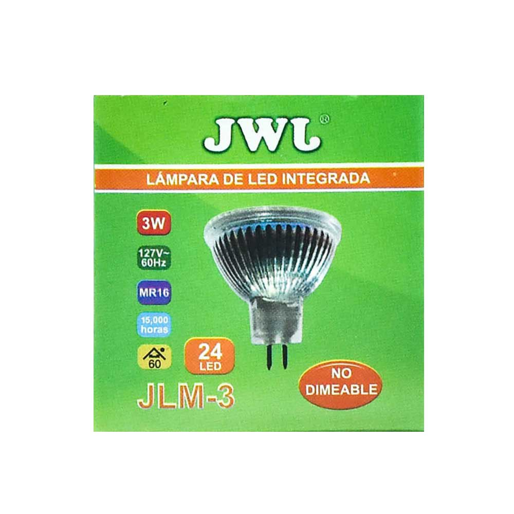 Foco led dicroico 3w base mr-16/gu5.3 luz blanca jlm-3b jwj