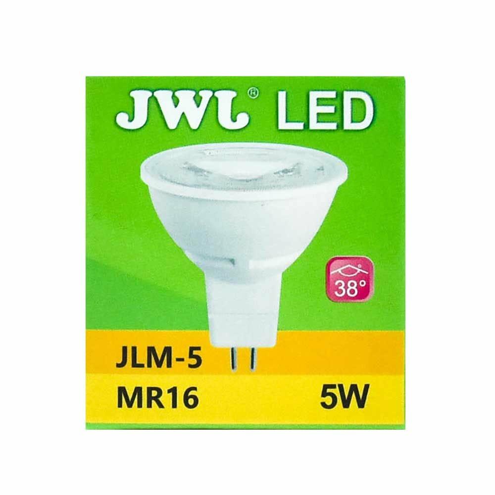Foco led dicroico 5w base mr-16/gu5.3 luz cálida jlm-5c jwj