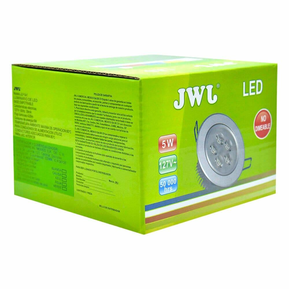 Lámpara led de 5w empotrable luz dirigible orilla blanca, luz blanca. jlp-5x1b/b jwj