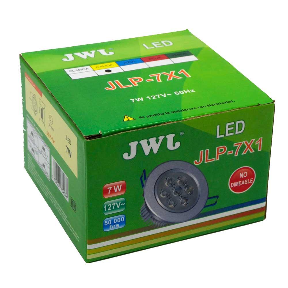 Lámpara led de 7w empotrable luz dirigible orilla satinada, luz cálida. jlp-7x1s/c jwj