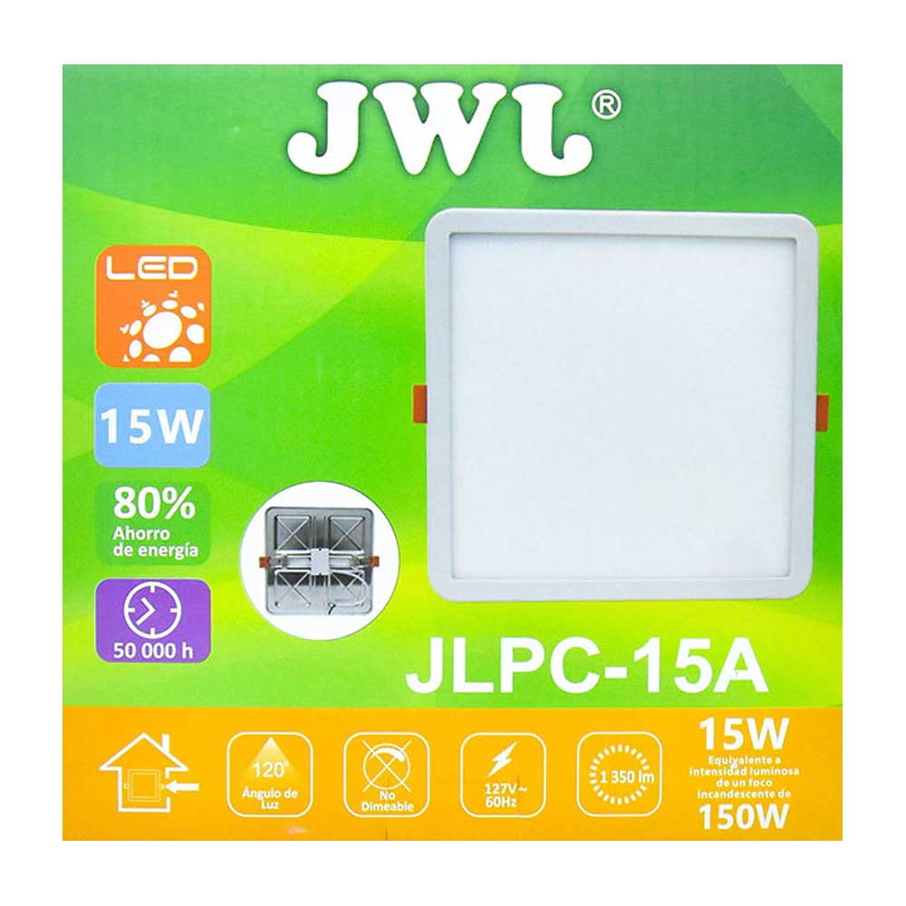 Plafón led cuadrado ajustable de 15w luz cálida jlpc-15ac jwj