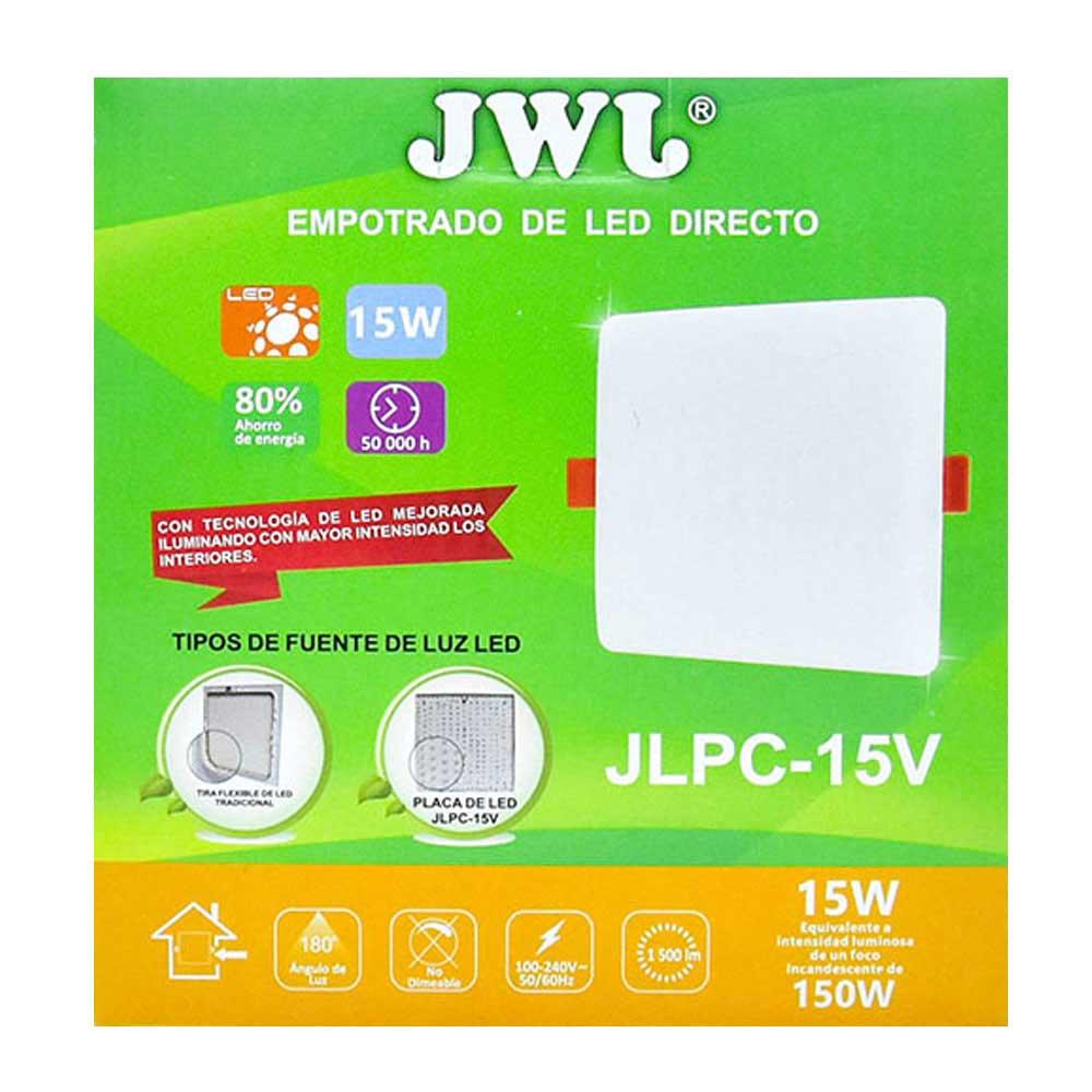 Plafón led cuadrado 15w luz blanca jlpc-15vb jwj