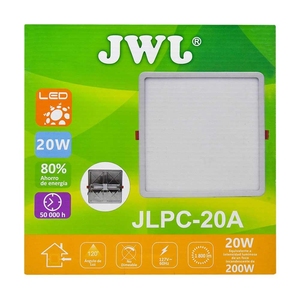 Plafón led cuadrado ajustable de 20w luz cálida jlpc-20ac