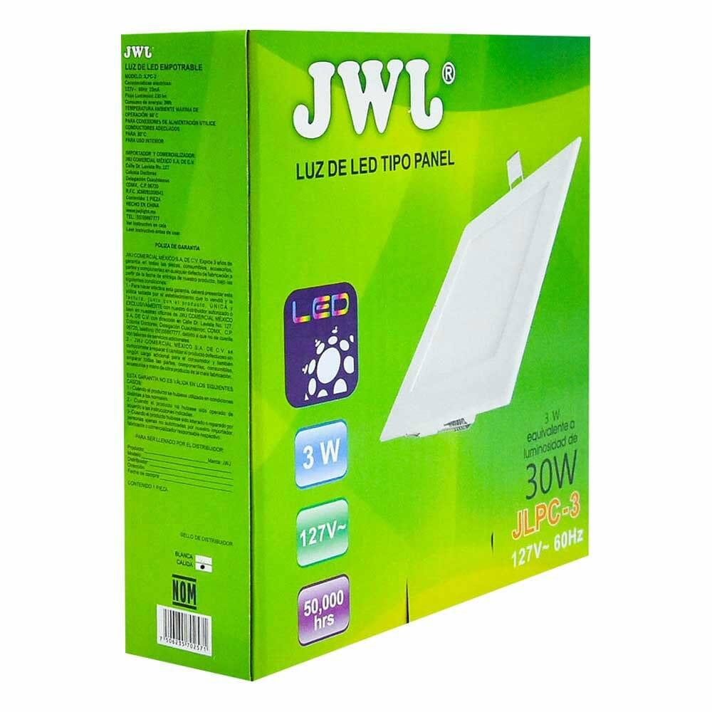 Panel de led para empotrar cuadrado 3w luz cálida jlpc-3c jwj