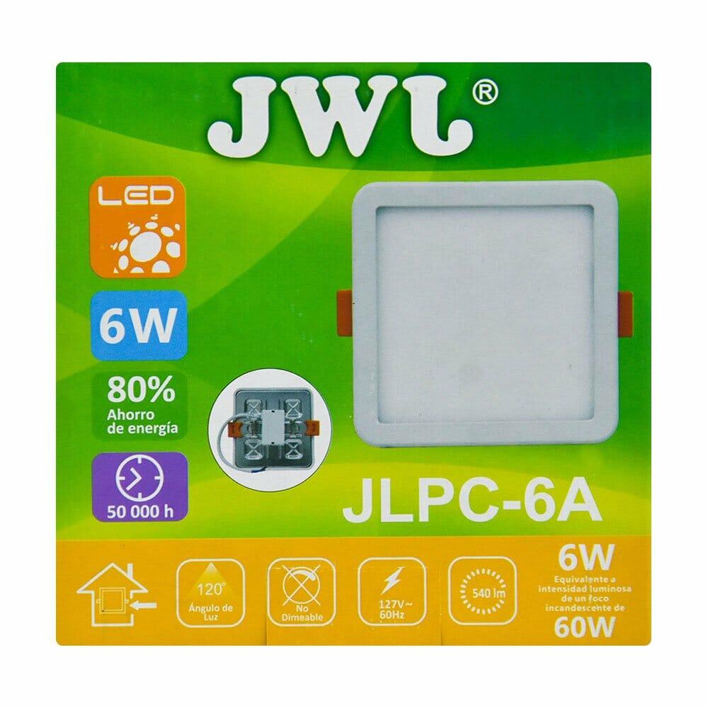 Plafón led cuadrado ajustable de 6w luz cálida jlpc-6ac