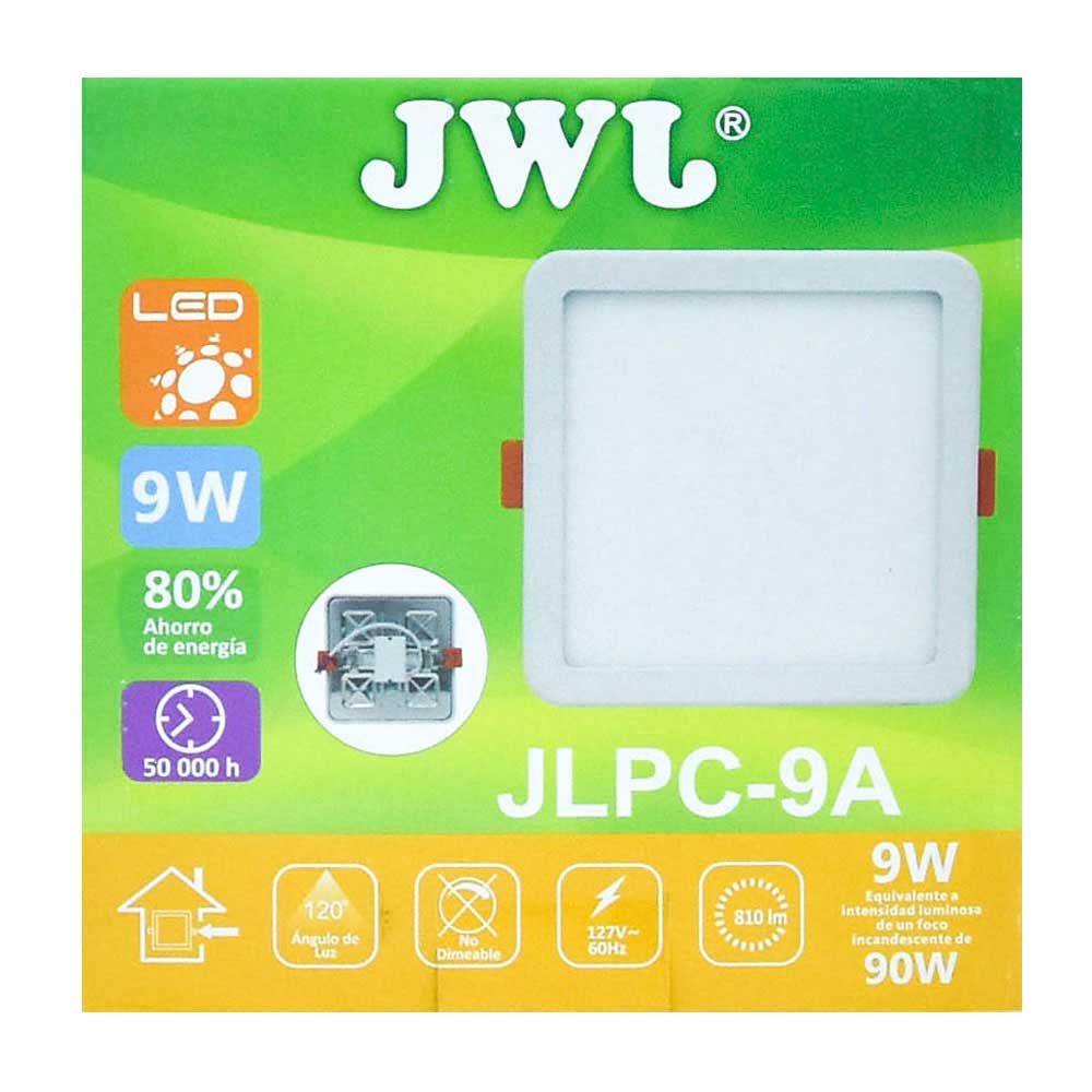 Plafón led cuadrado ajustable de 9w luz blanca jlpc-9ab
