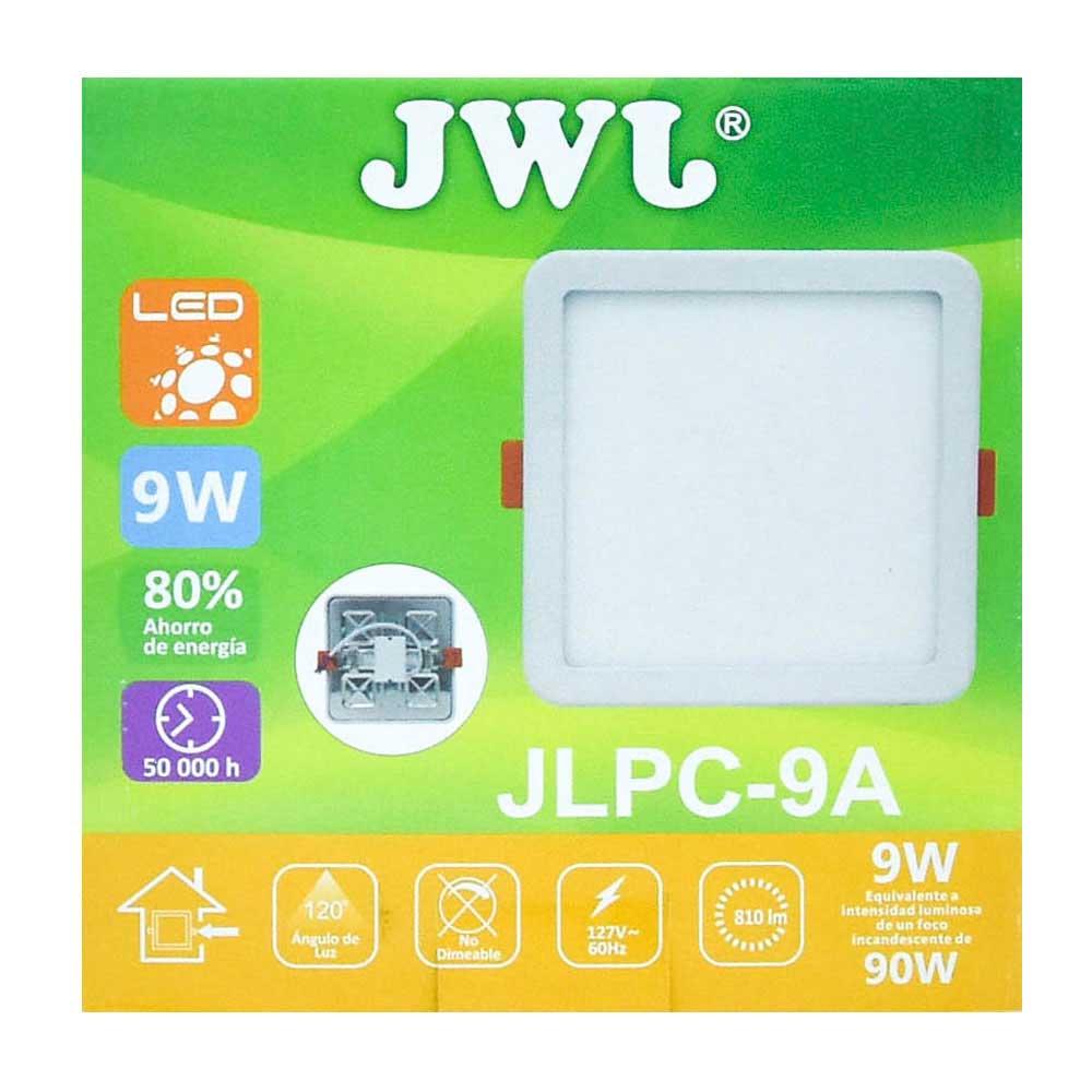 Plafón led cuadrado ajustable de 9w luz cálida jlpc-9ac