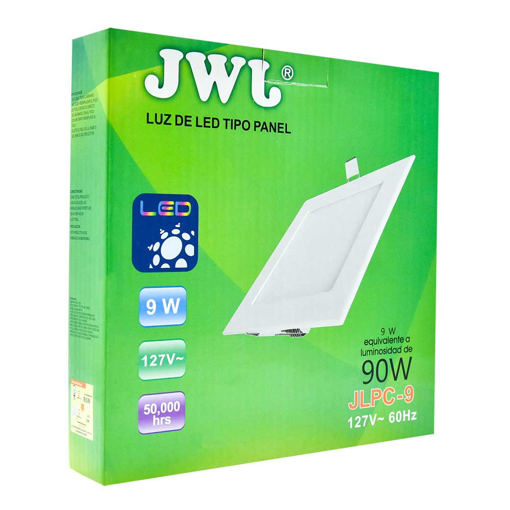 Panel de led para empotrar cuadrado 9w luz cálida jlpc-9c
