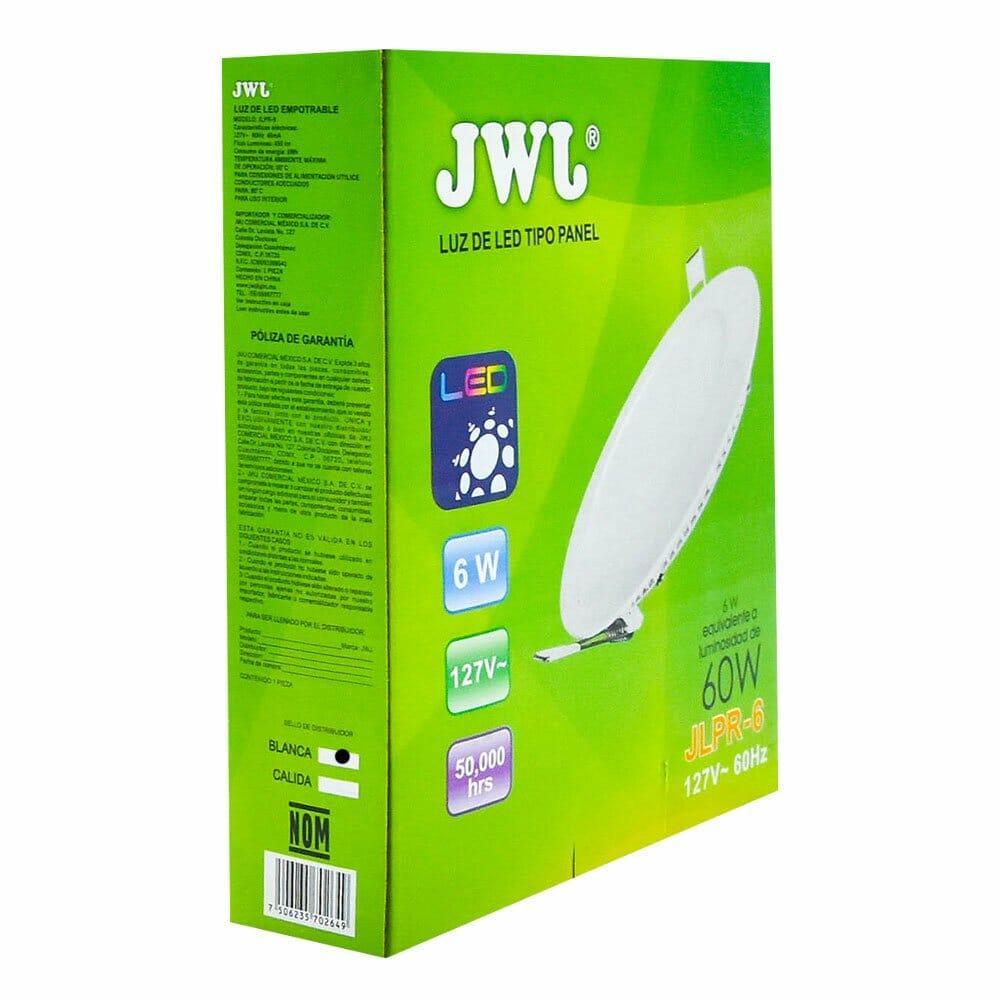 Panel de led para empotrar redondo 6w luz blanca jlpr-6b marca jwj