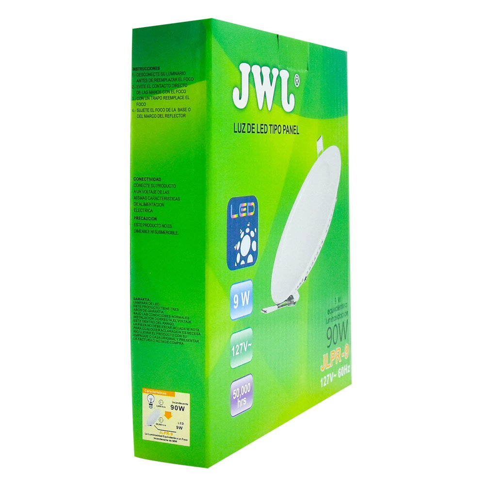 Panel de led para empotrar redondo 9w luz blanca jlpr-9b marca jwj