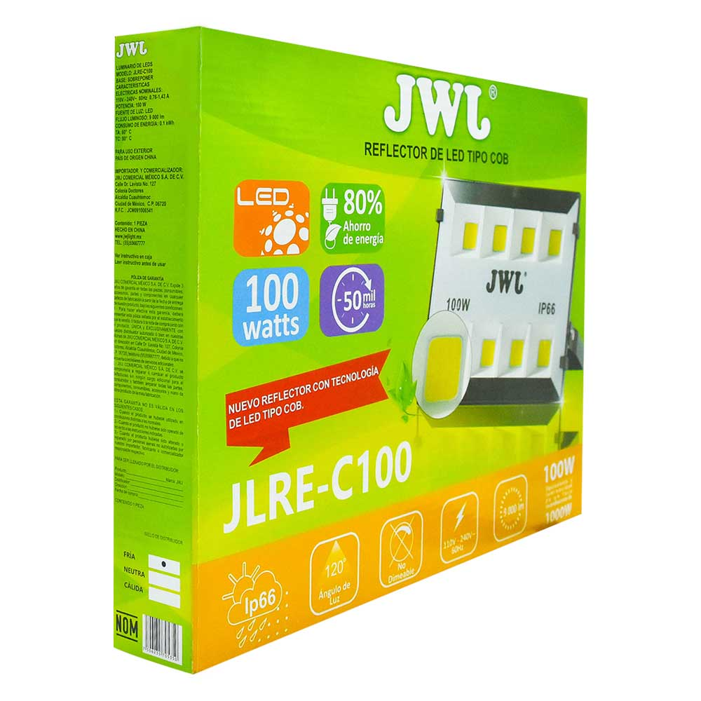 Reflector led tipo cob ip66 100w luz blanca jlre-c100b jwj