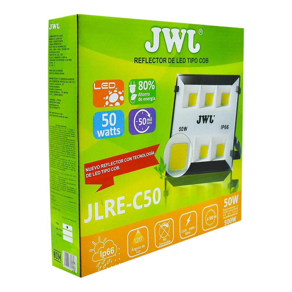 Reflector led tipo cob ip66 50w luz blanca jlre-c50b jwj