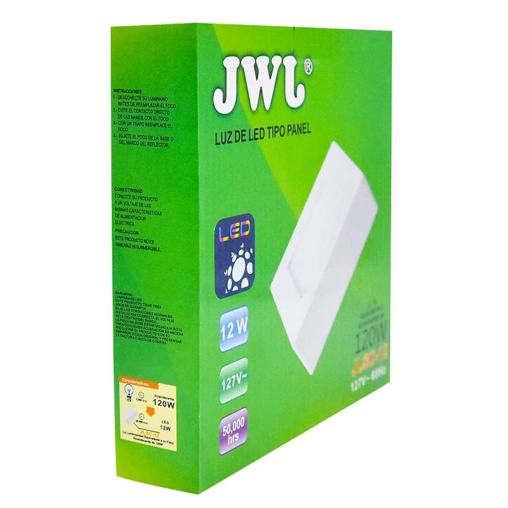 Panel led cuadrado de sobreponer 12w luz cálida jlsc-12c jwj