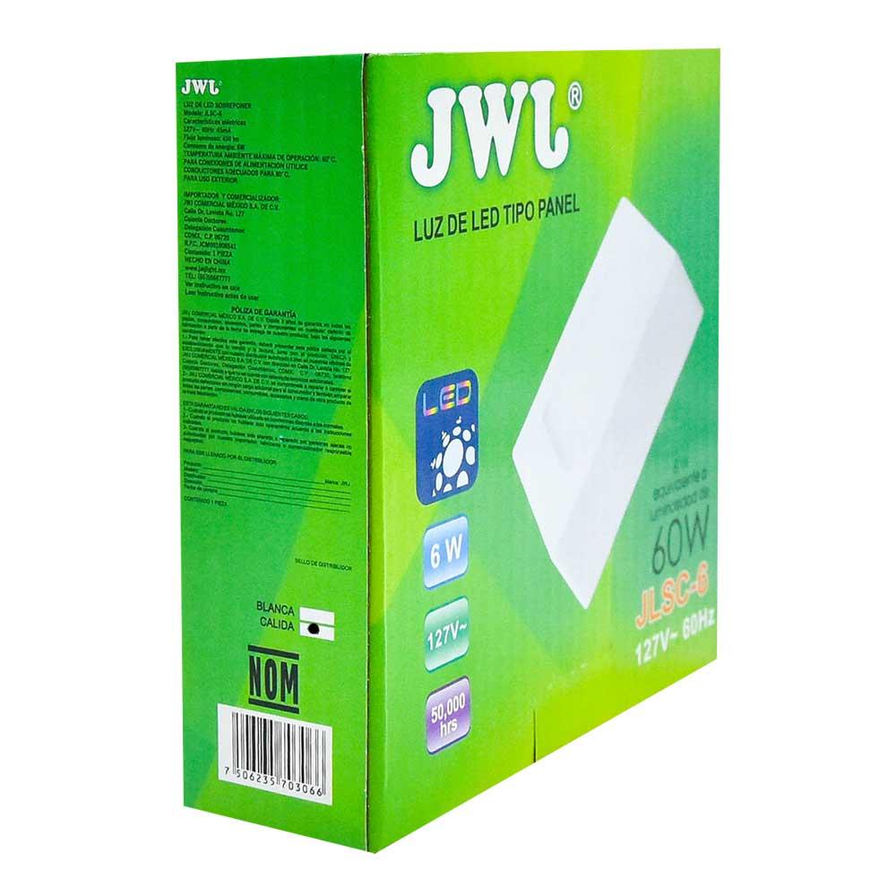 Panel led cuadrado de sobreponer 6w luz cálida jlsc-6c jwj