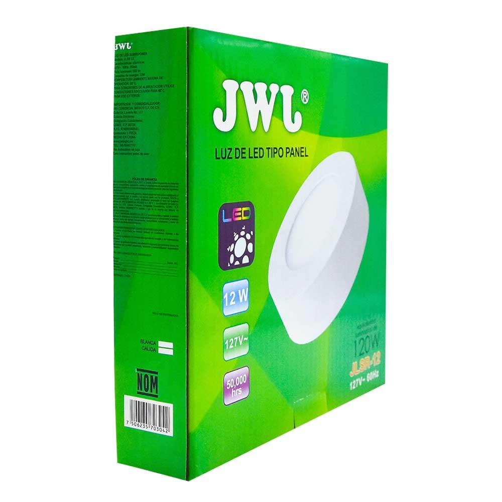 Panel led redondo de sobreponer 12w luz blanca jlsr-12b jwj