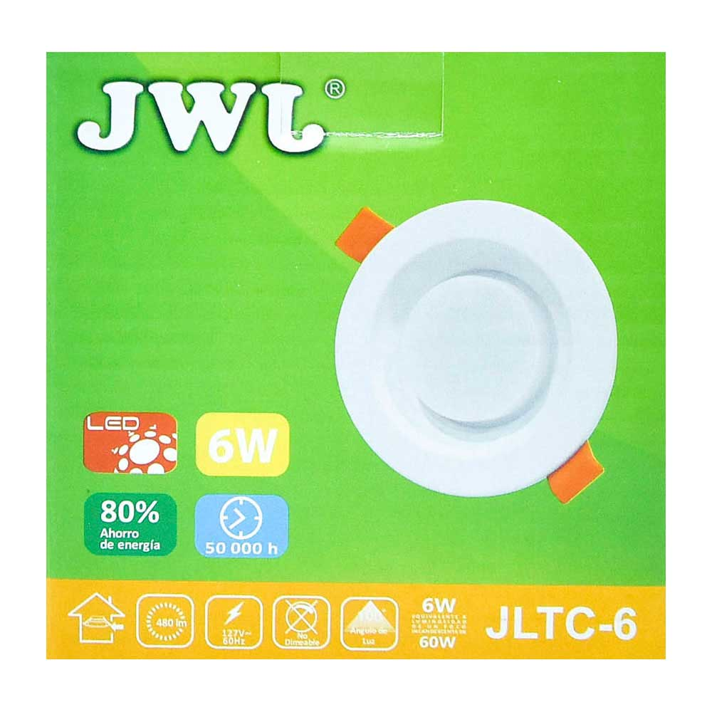 Plafón led empotrable 6w con driver integrado luz blanca jltc-6b jwj