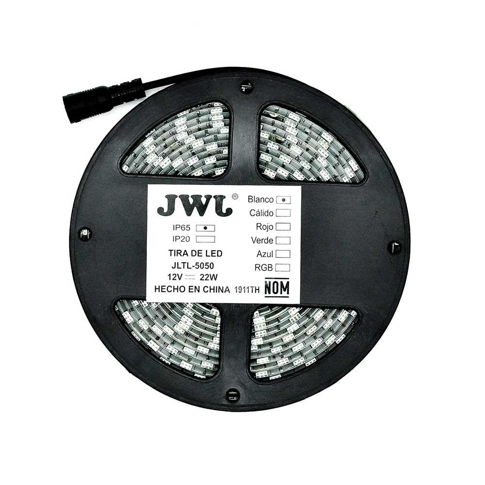Tira led 5050 para exterior 5mtrs blanca jltl-5050ip65b jwj