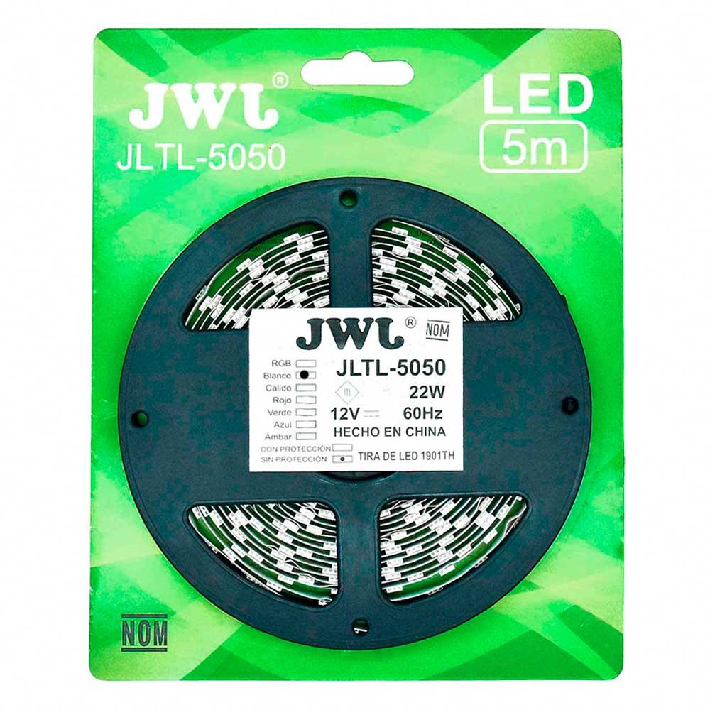 Tira led 5050 para interior 5mtrs blanca jltl-5050ip20b jwj