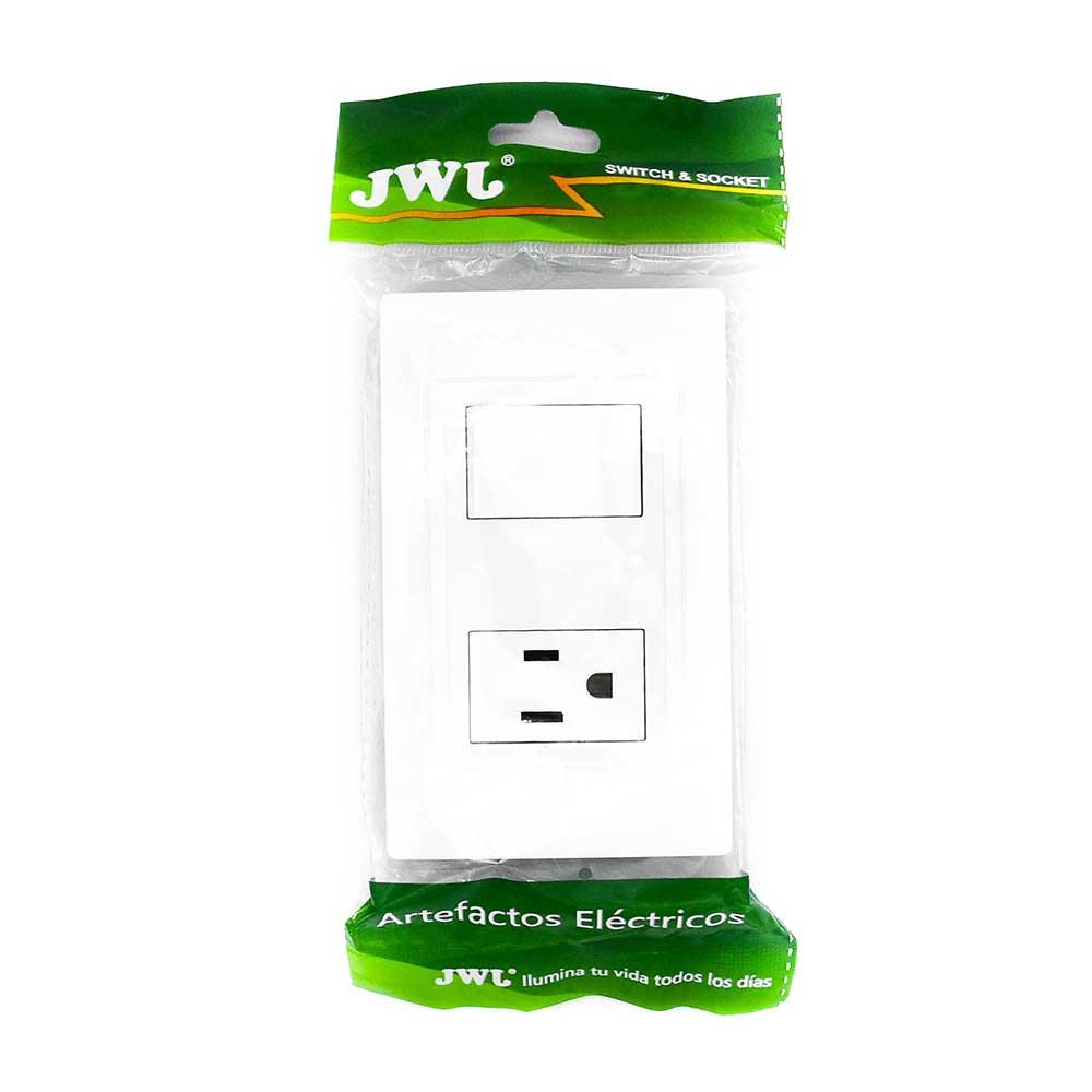 Placa con interruptor sencillo y una toma de corriente jlt-b7244
