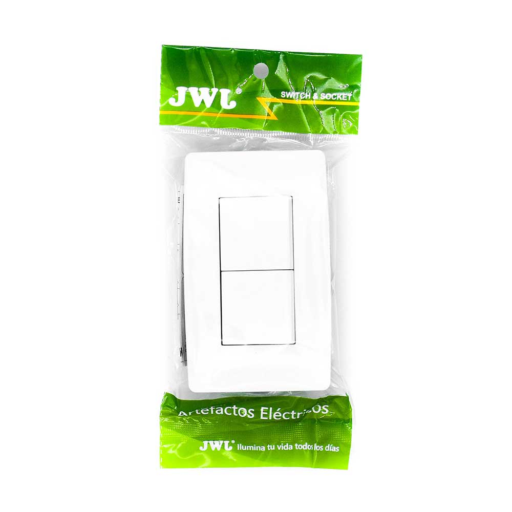Placa con 2 interruptores escalera 1 modulo. 10 a. jtl-c7340 jwj
