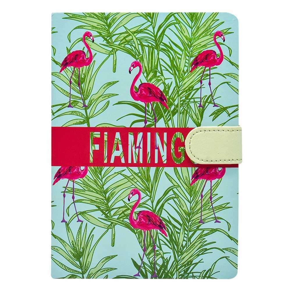 Libreta pasta dura con broche y estampado flamingo k90014