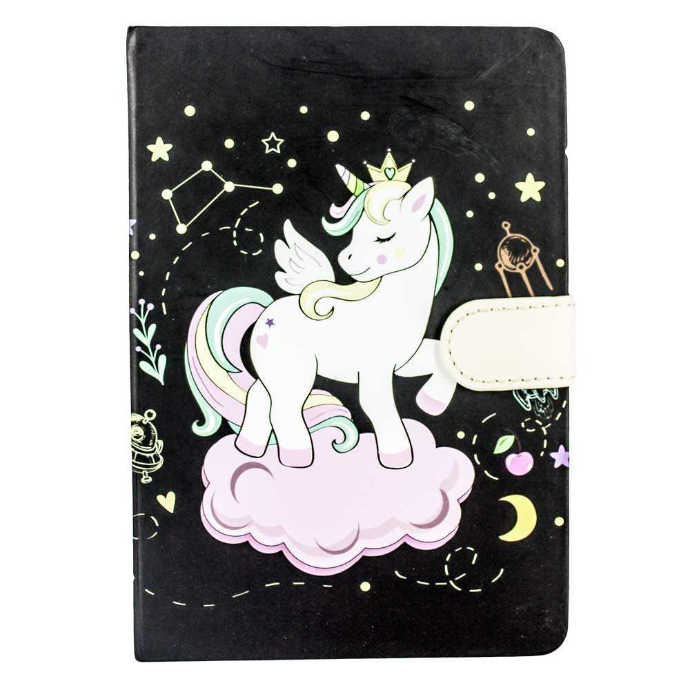 Libreta pasta dura con broche y estampado de unicornio k90020