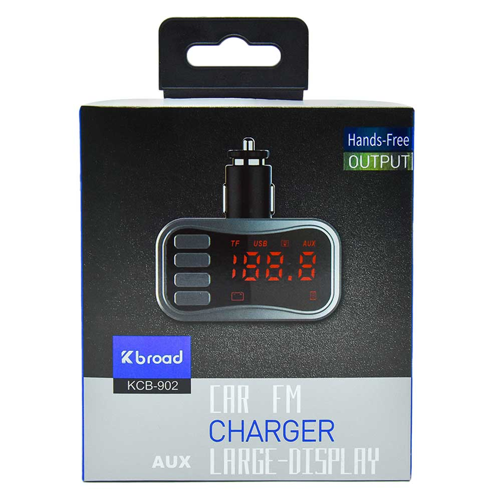 Transmisor de bluetooth kcb-902 car fm charger aux large display mp-902