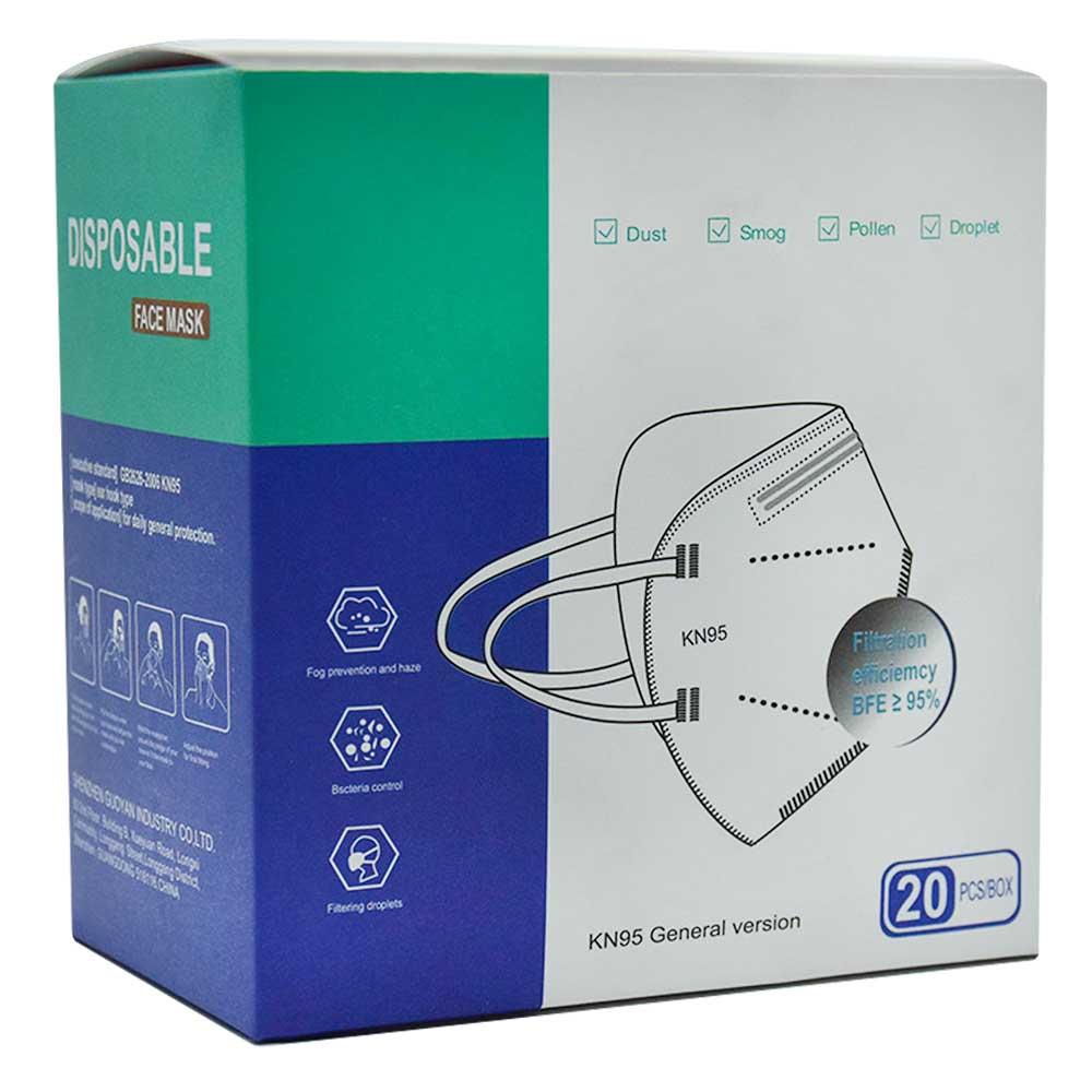 Caja de cubrebocas kn95 20pz s/valvula negro kn95.20pcs