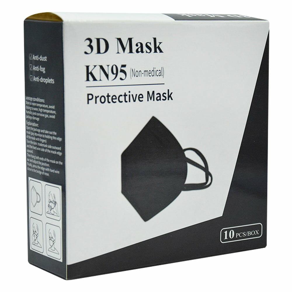 caja de 10 pz cubreboca kn95 color negro sin valvula