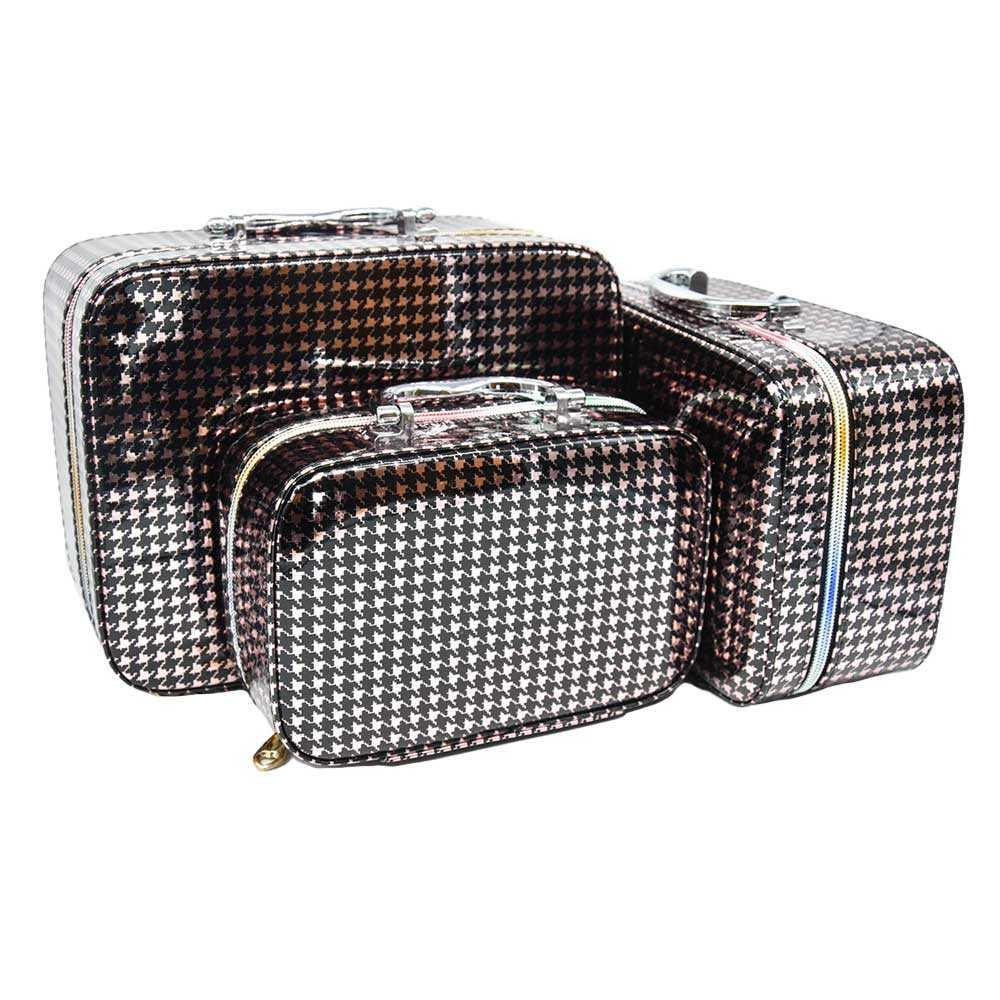 Cosmetiquera tipo maleta con estampado de cuadros lk-712