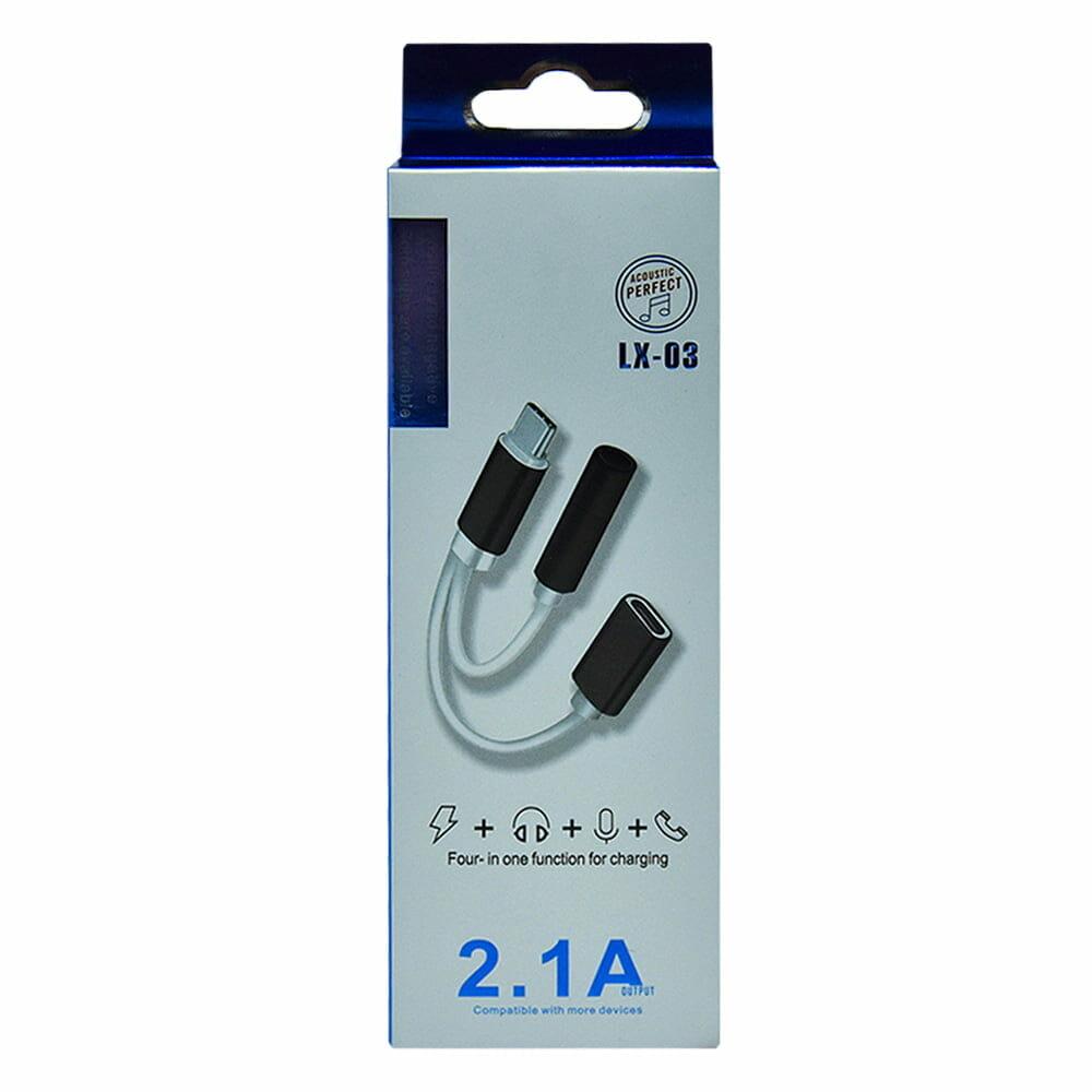 Adaptador audífono o carga tipo c 2.1a lx-03