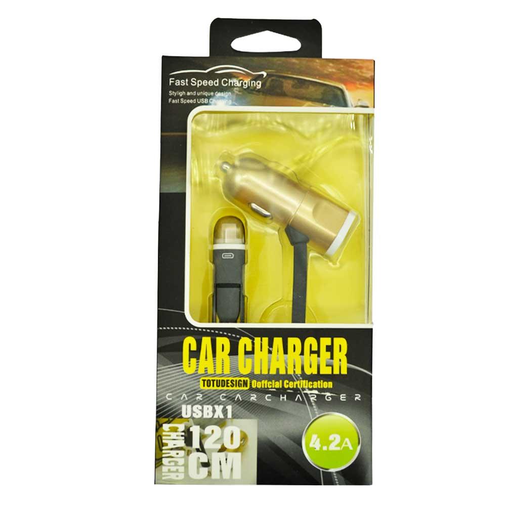 Cargador de coche con cable v8 coche 4.2a car charger totudesing qc-02