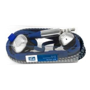 Audífonos manos libres acabado en azul mate y detalles plateados s9-a093