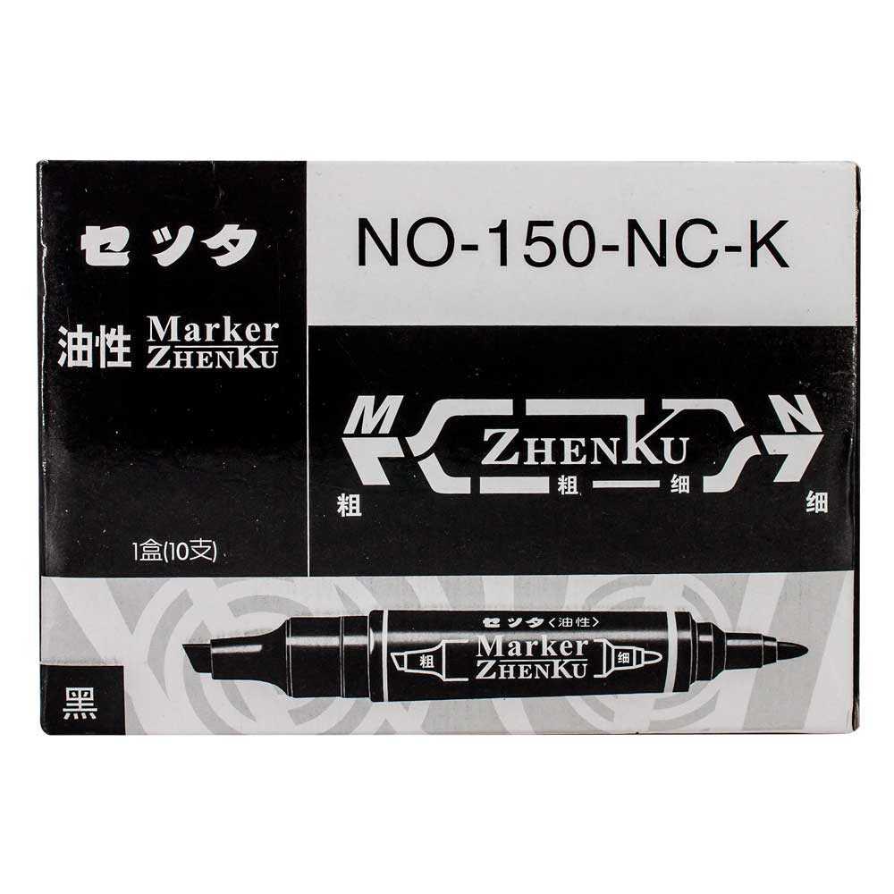 Paquete c/10pz de marcadores permanentes doble punta zp-0547