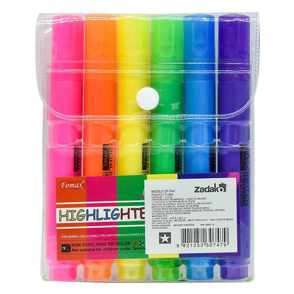 Set c/6pz de marcatextos de colores zp-0747