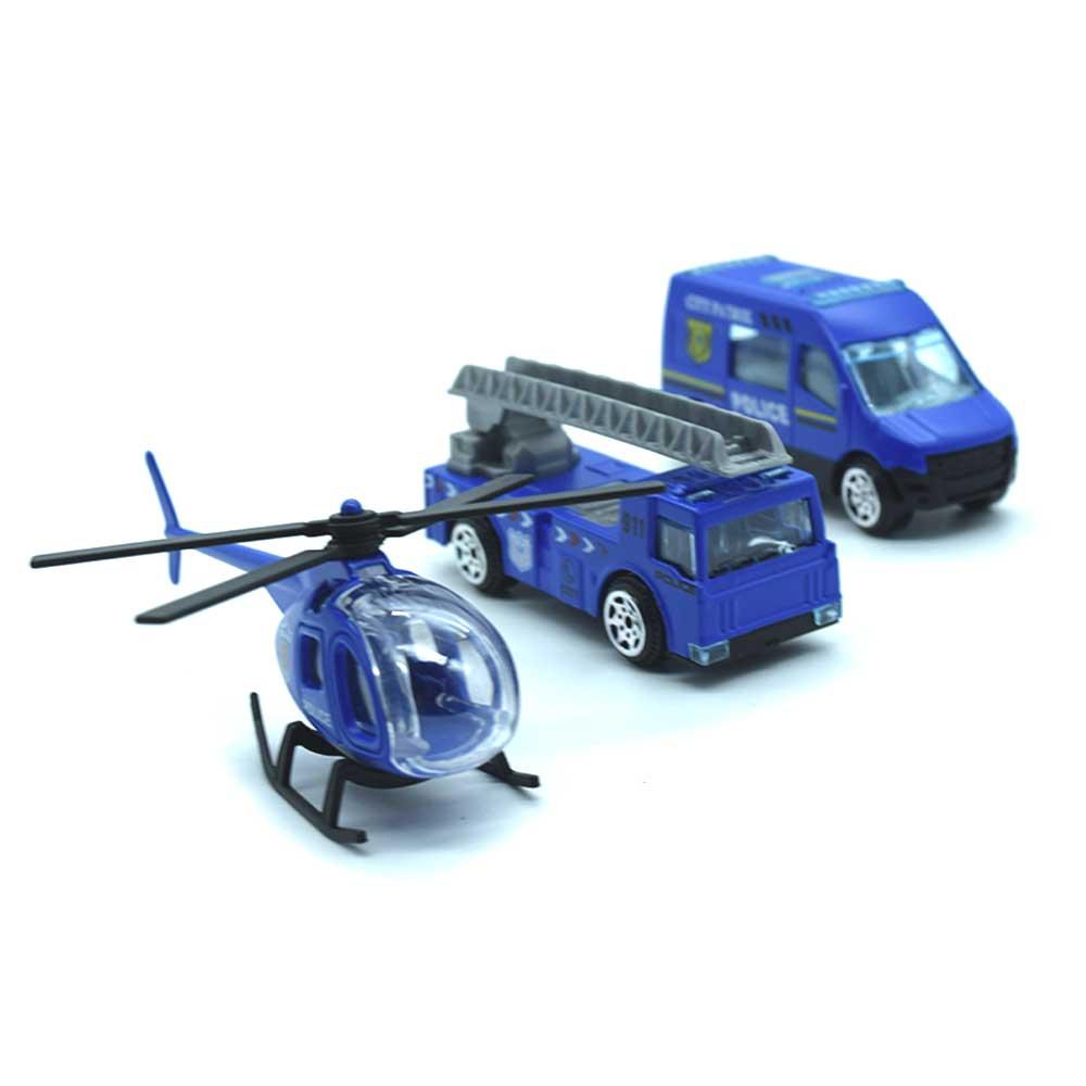 Set de carros policia, bombero y helicoptero g1288i